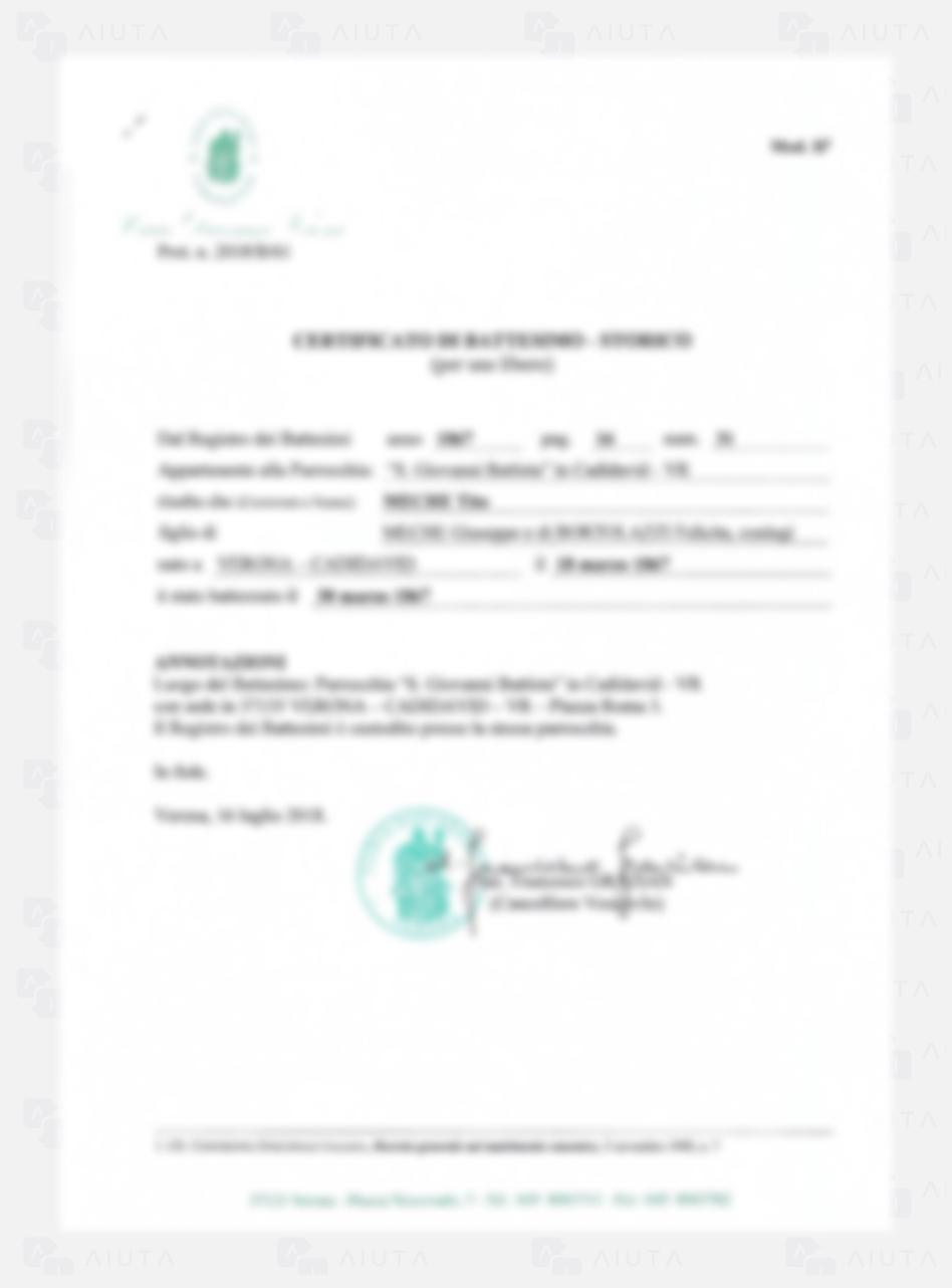 Exemplo de custos para traduzir um documento de Batismo - AIUTA